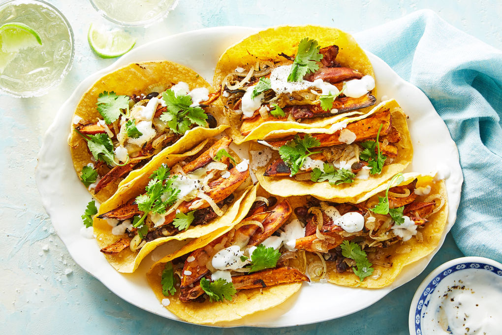 Black Bean-Sweet Potato Tacos with Cilantro & Sour Cream