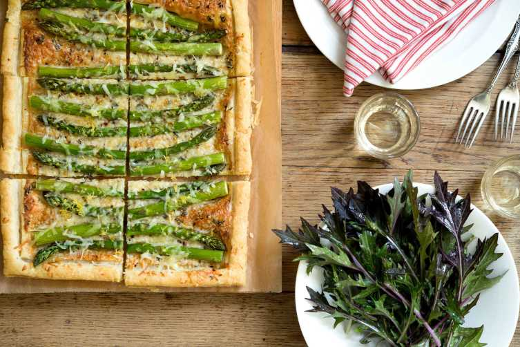 asparagus tart with dandelion salad