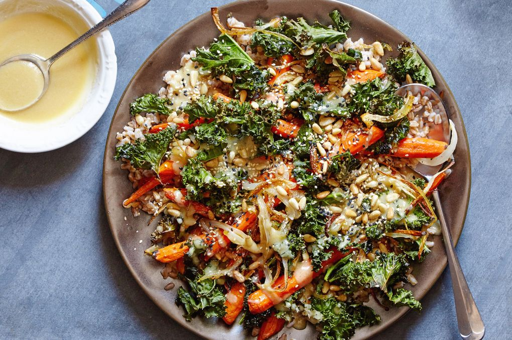 Roasted Carrots & Crispy Kale with Farro & Miso-Honey Vinaigrette