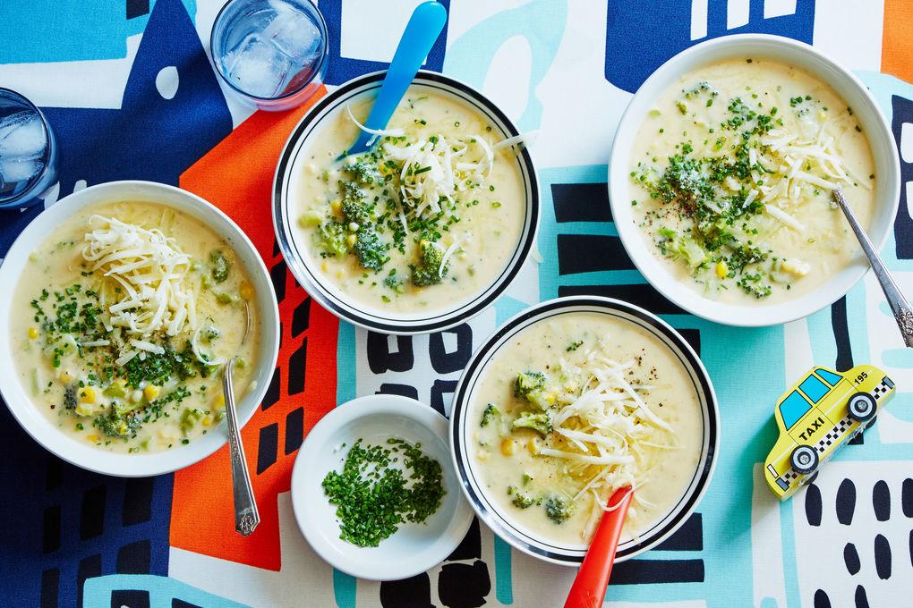 Broccoli Corn Chowder with Potato and Cheddar