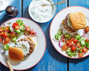 indian pork burgers with cucumber yogurt & tomato salad