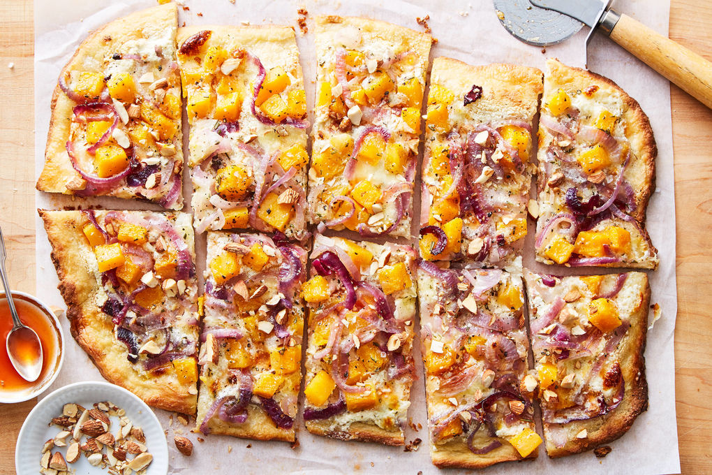 Butternut Squash Pizza with Ricotta, Almonds & Hot Honey