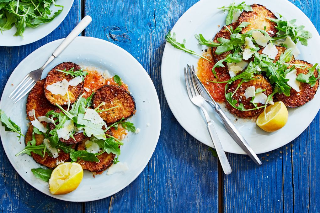 Freeform Eggplant Parmesan with Arugula and Tomatoes