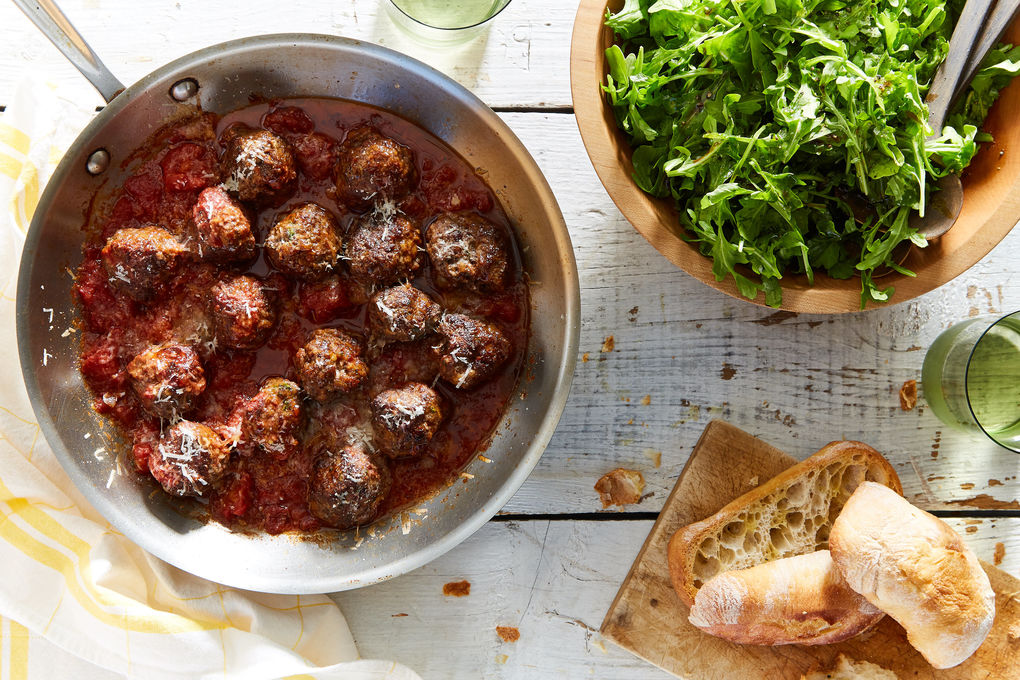 Baked Grass-Fed Meatballs with Arugula Salad and Crusty Bread