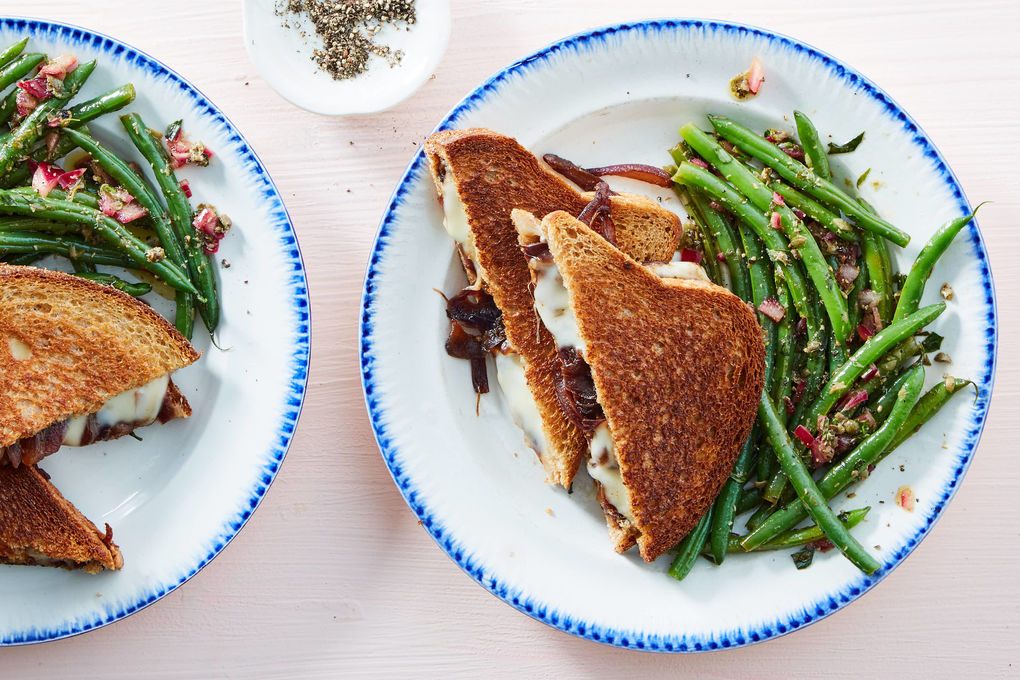 French Onion Grilled Cheese with Caper Tarragon Green Beans