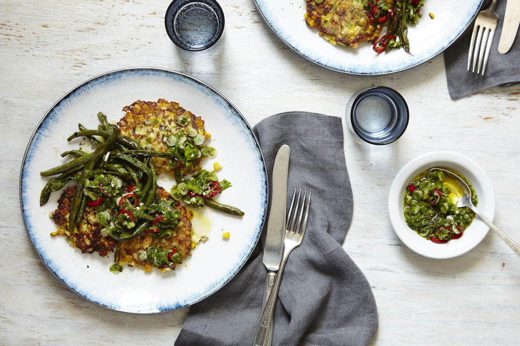Corn and Zucchini Fritters with Herb Salsa and Blistered Green Beans