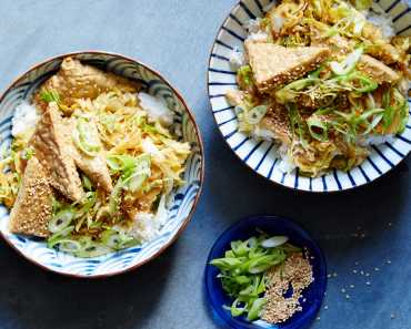 tempeh with shoyu butter with cabbage and sesame seeds