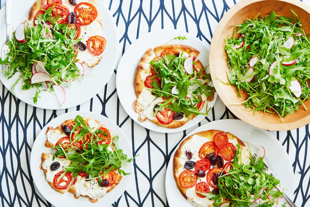 Cheesy Tomato Pizza with Radish & Arugula Salad