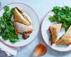 roasted vegetable sandwiches with tomatoes, mushrooms & kale