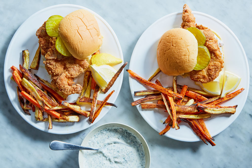 Fried Chicken Sandwiches with Root Vegetable Fries