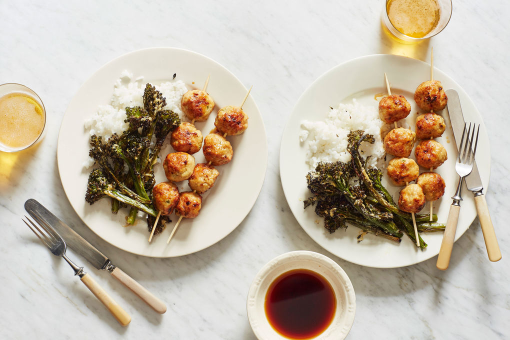 Japanese Chicken Meatballs with Broccolini in Miso Butter
