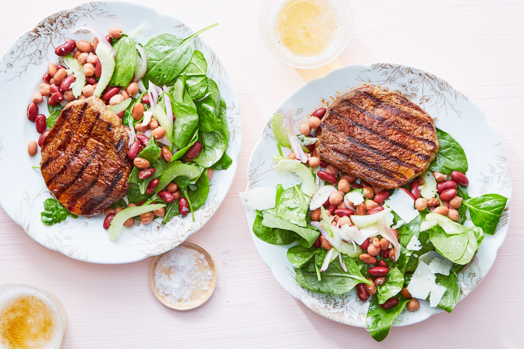 Smoky Spice-Rubbed Steak with Mixed Bean-Spinach Salad
