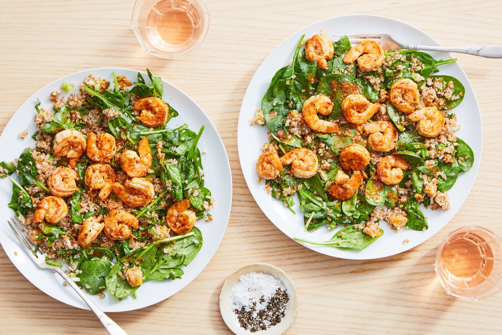 Moroccan Spiced Shrimp with Herbed Bulgur Salad