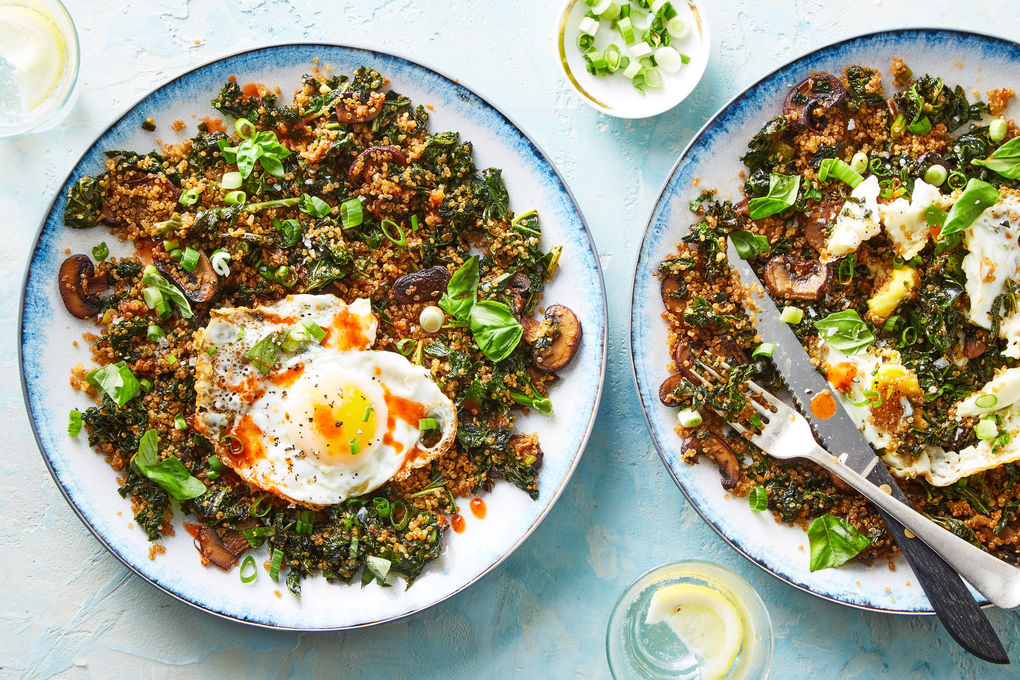 "Quinoa ""Fried Rice"" with Roasted Mushrooms & Kale"