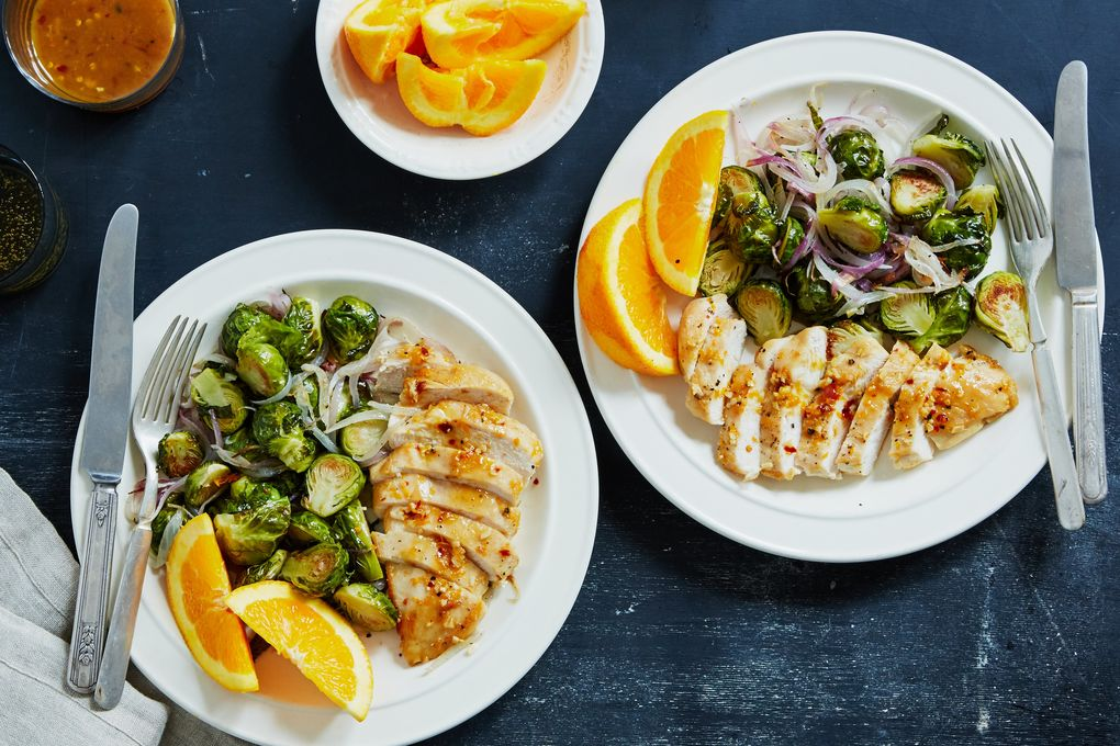 Maple Glazed Chicken with Brussels Sprouts & Red Onion