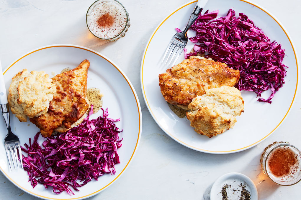 Fried Chicken on a Biscuit with Pepper Honey & Cabbage Slaw