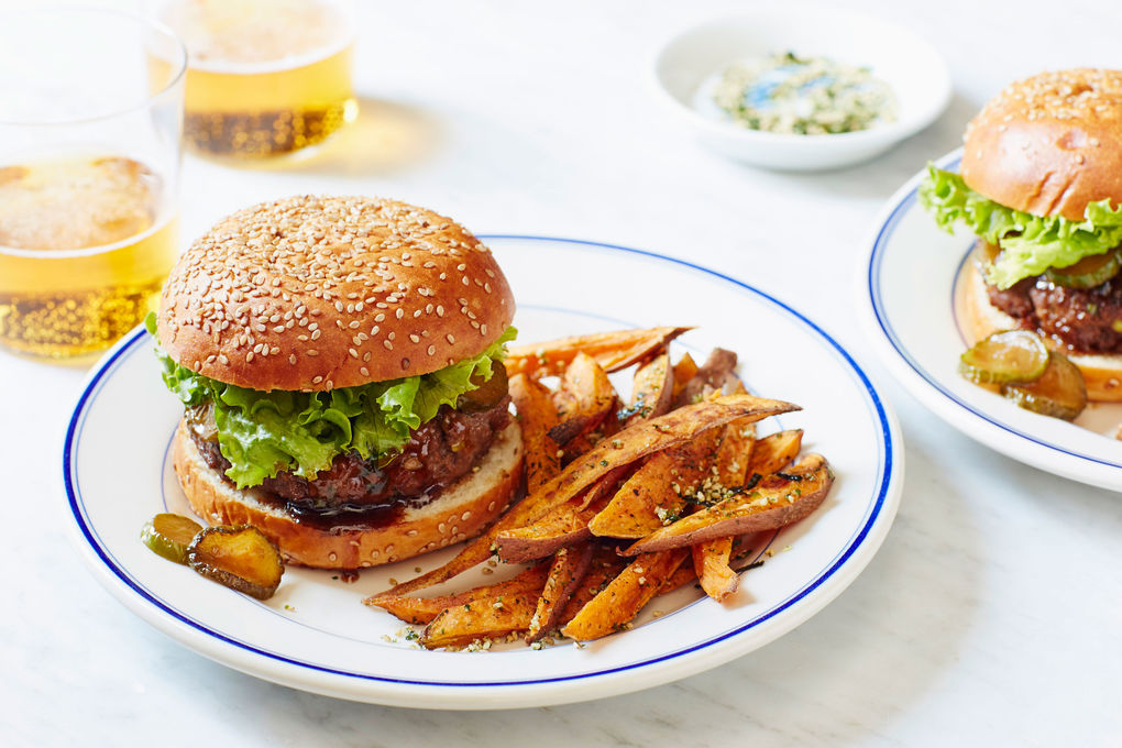 Miso-Tamari Beef Burgers with Japanese Sweet Potato Fries