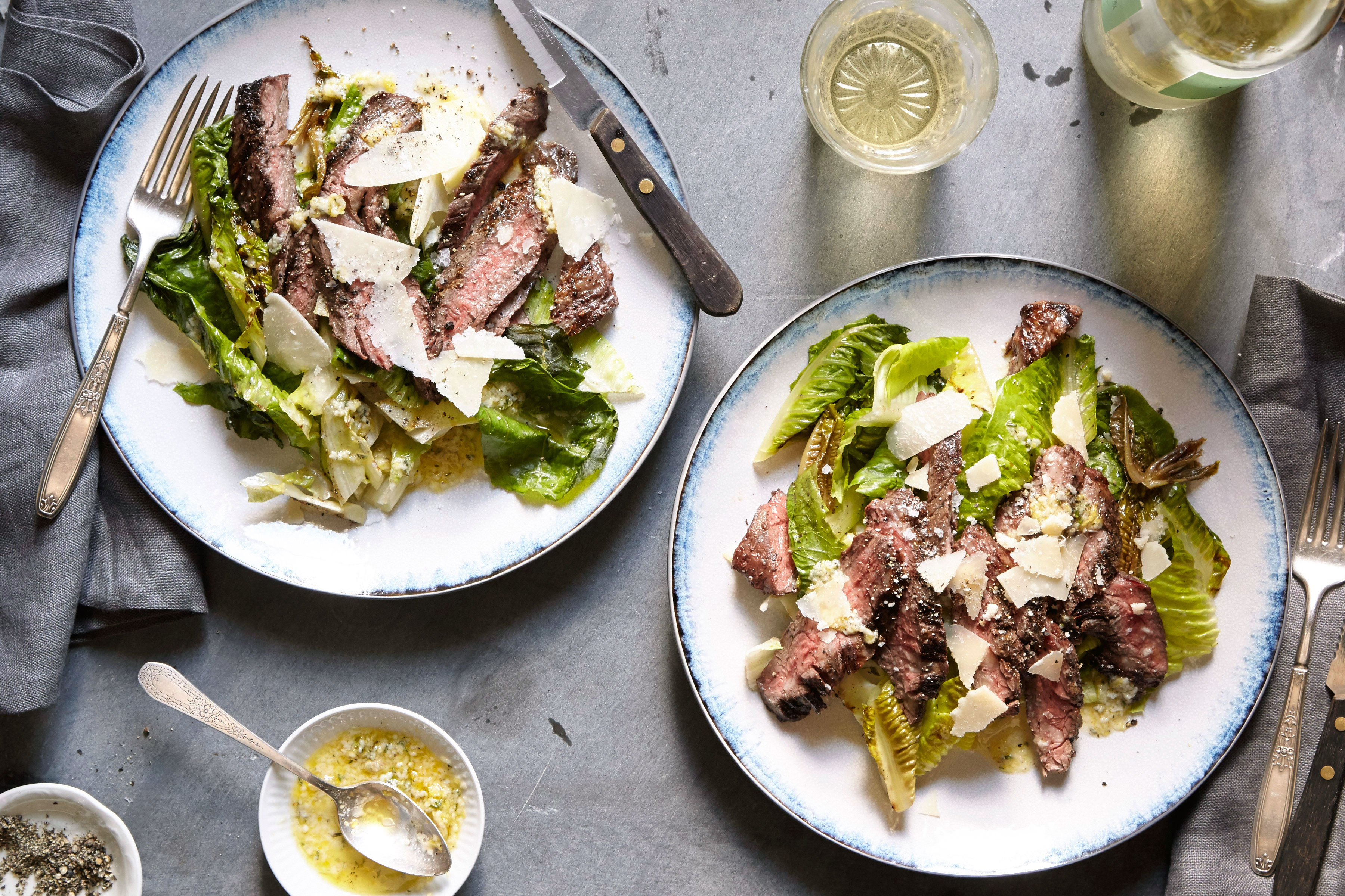 Grilled romaine and skirt steak salad