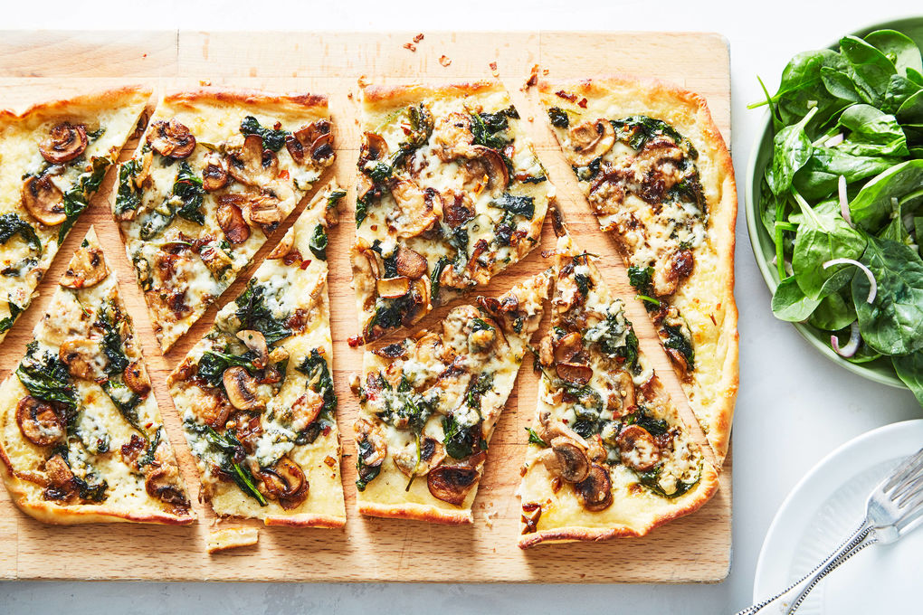 Mushroom-Spinach Pizza with Spinach Salad