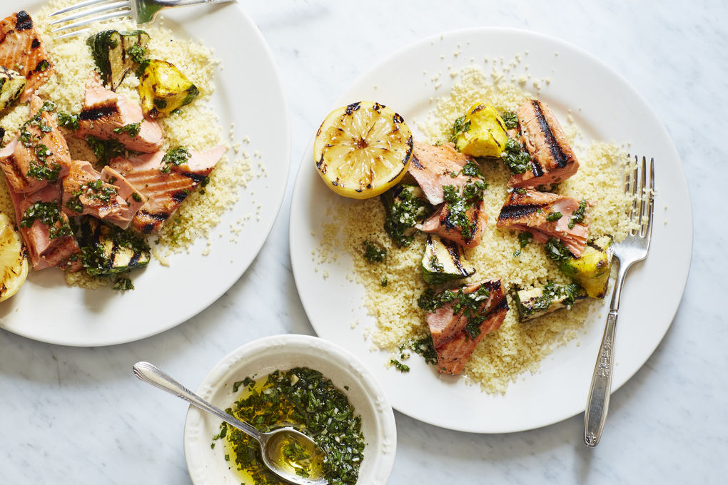 Grilled Salmon with Pattypan Squash, Couscous and Chimichurri