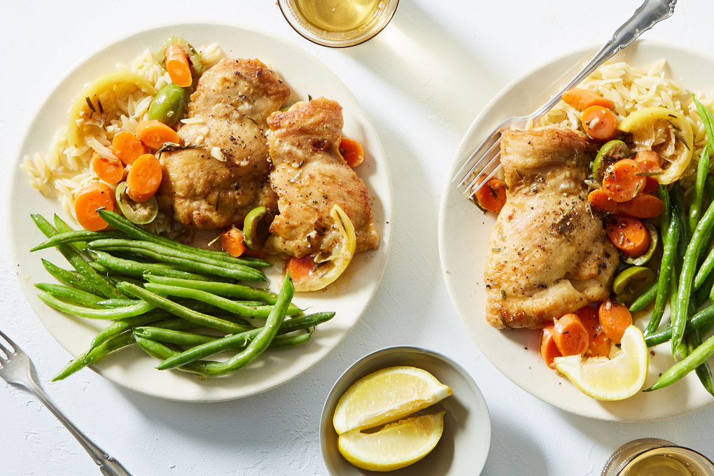 Lemon Roasted Chicken with Carrots, Olives, and Orzo