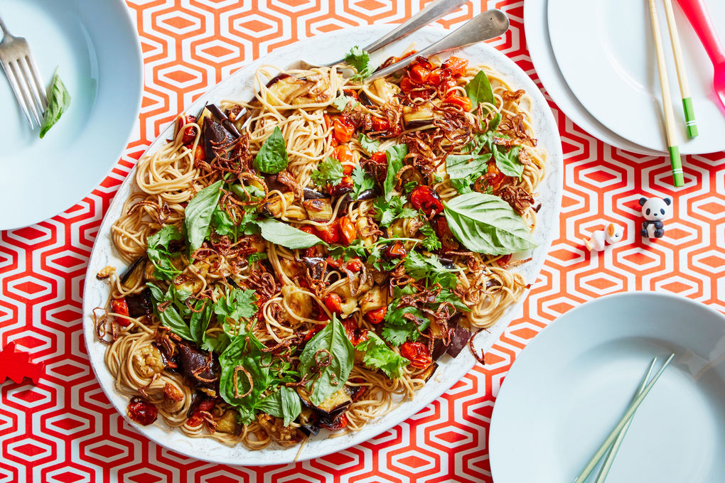 Noodles, Eggplant, & Tomatoes with Crispy Shallots