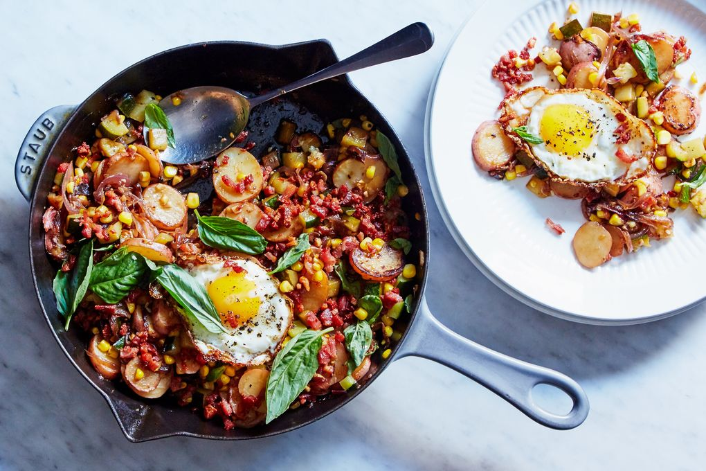 Corn and Zucchini Hash with Pancetta & Eggs