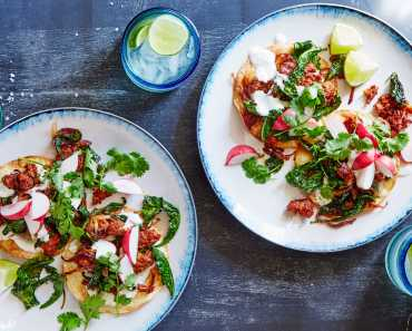 chorizo & kale tostadas with radish and cilantro