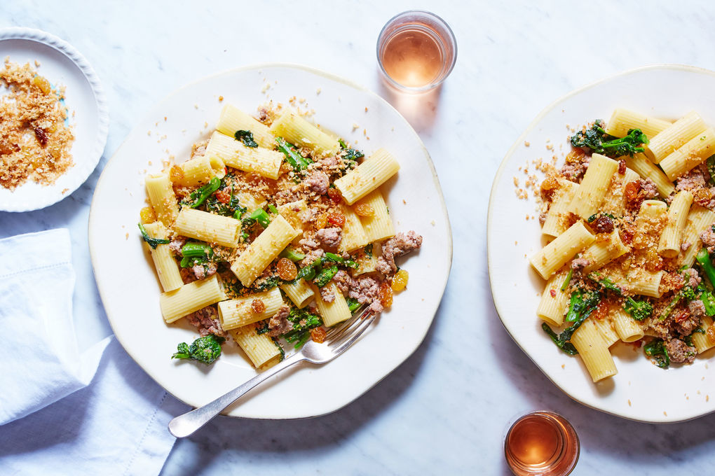 Broccoli Rabe & Sausage Pasta with Raisins and Breadcrumbs