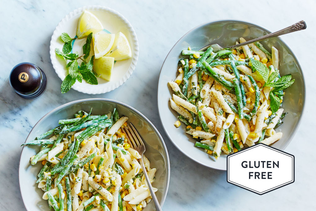 Gluten-Free Goat Cheese Pasta with Green Beans, Sweet Corn and Mint