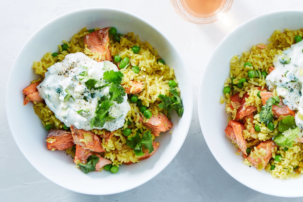 Hot Smoked Salmon Rice Pilaf with Peas and Cucumber Yogurt