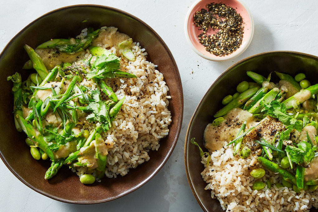 Asparagus-Edamame Rice Bowl with Furikake and Miso Dressing