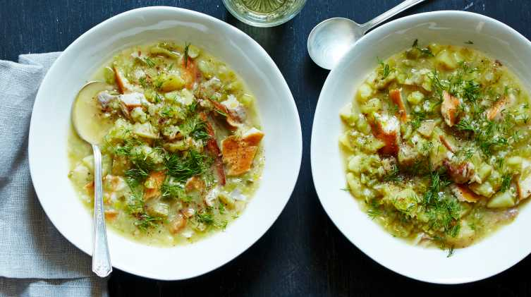 smoked trout chowder with dill and sumac
