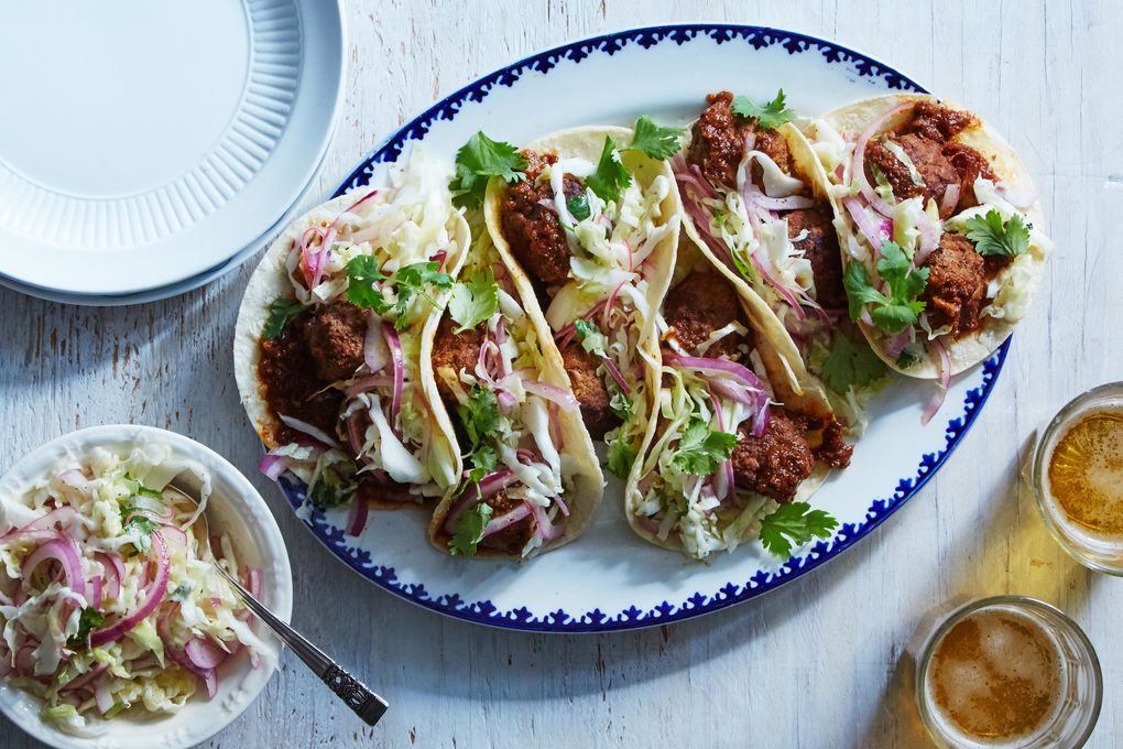 Chipotle Meatball Tacos with Tangy Slaw