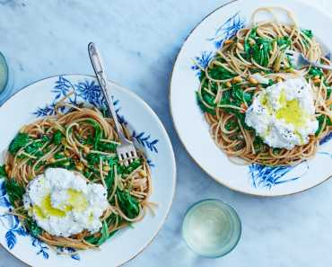whole wheat ricotta spaghetti with capers, arugula, and pine nuts