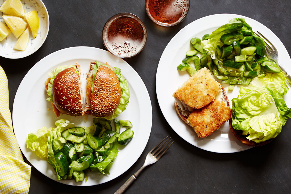 Fish Sandwich with Crushed Cucumber Salad