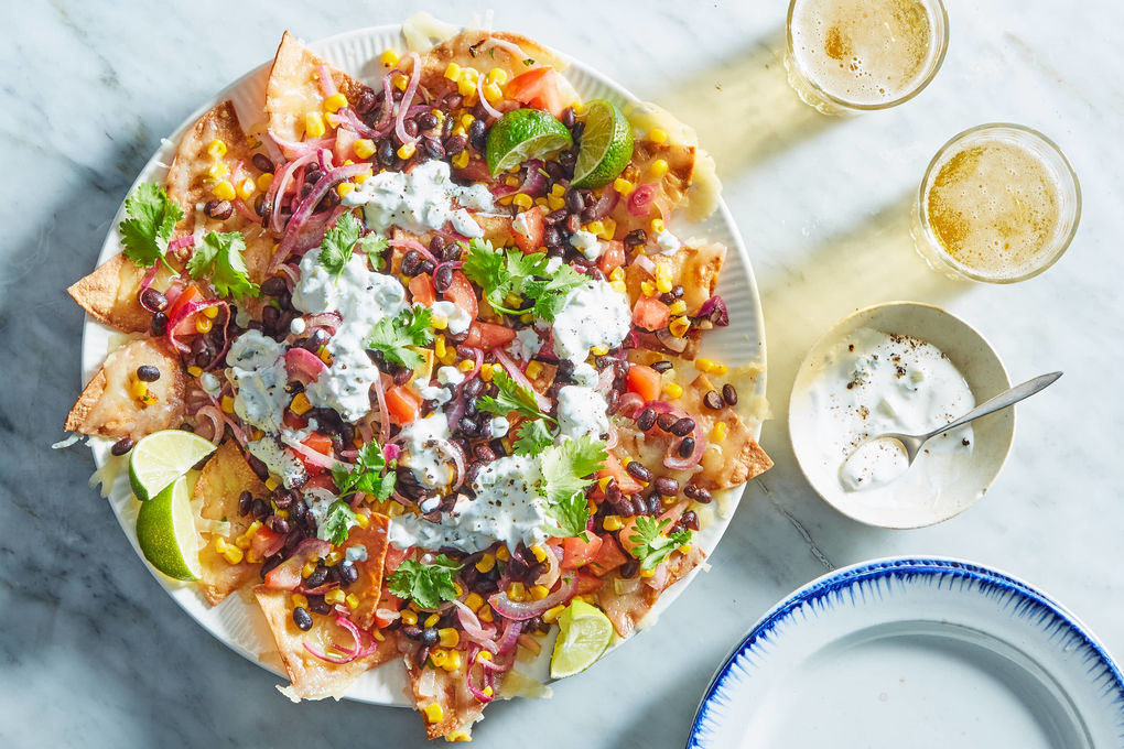 Black Bean & Corn Nachos with Charred Jalapeño Crema