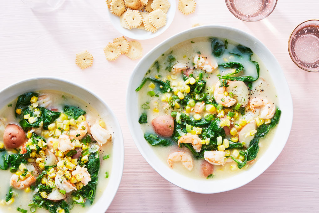 New England Shrimp Chowder with Corn, Spinach, and Potatoes