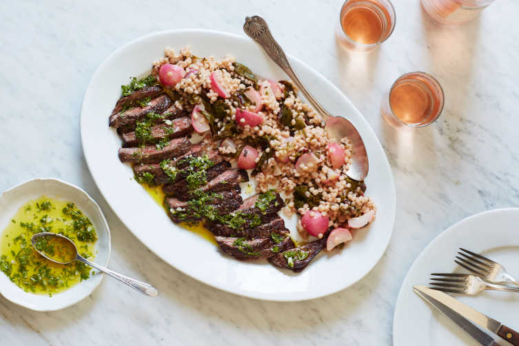 Skirt steak and barley cooked with radishes and swiss chard