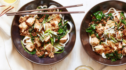 Mapo Tofu over Udon Noodles with Ground Pork and Baby Kale