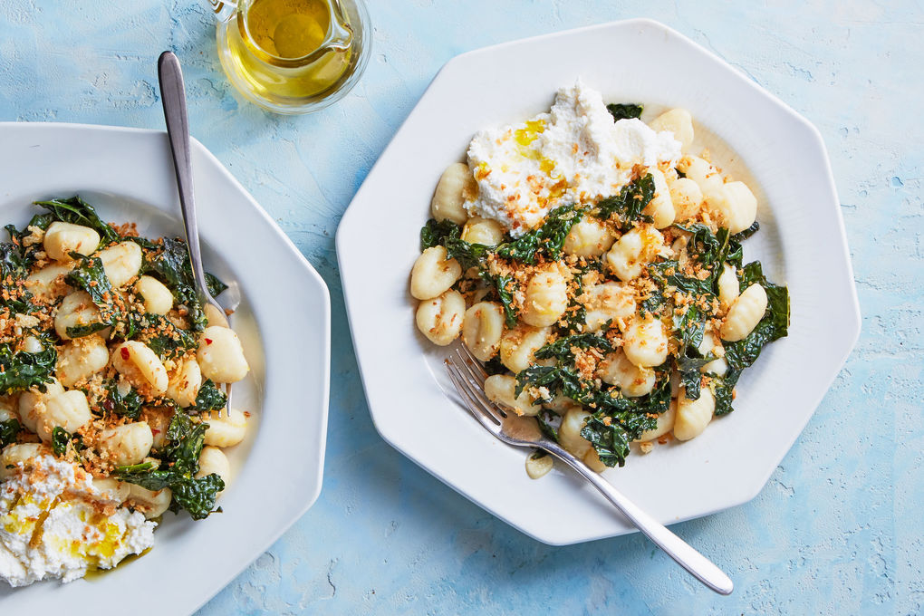 Potato Gnocchi and Kale with Ricotta & Cheesy Breadcrumbs