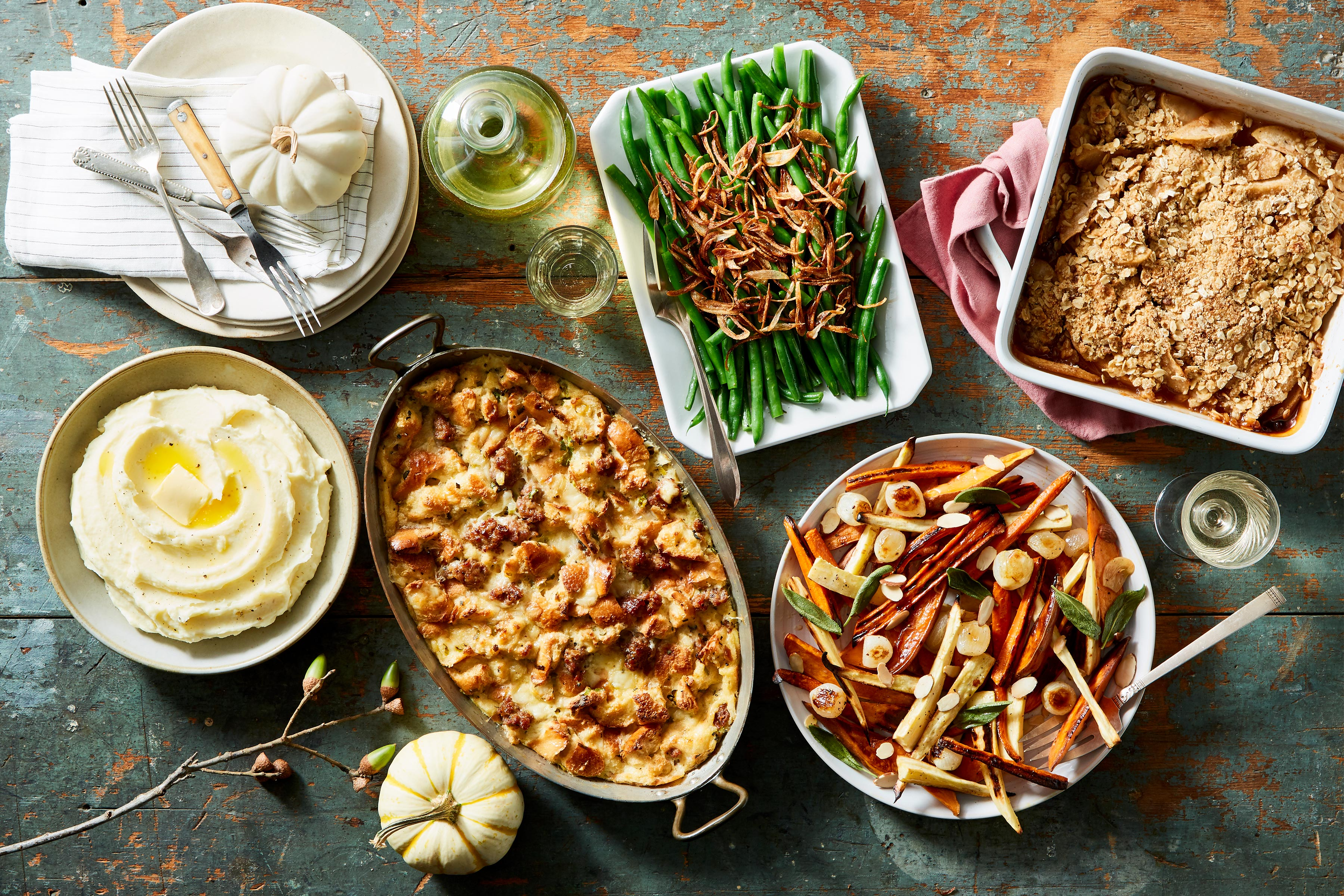 Martha Stewart Thanksgiving recipes including mashed potatoes, green beans, stuffing, and apple crisp