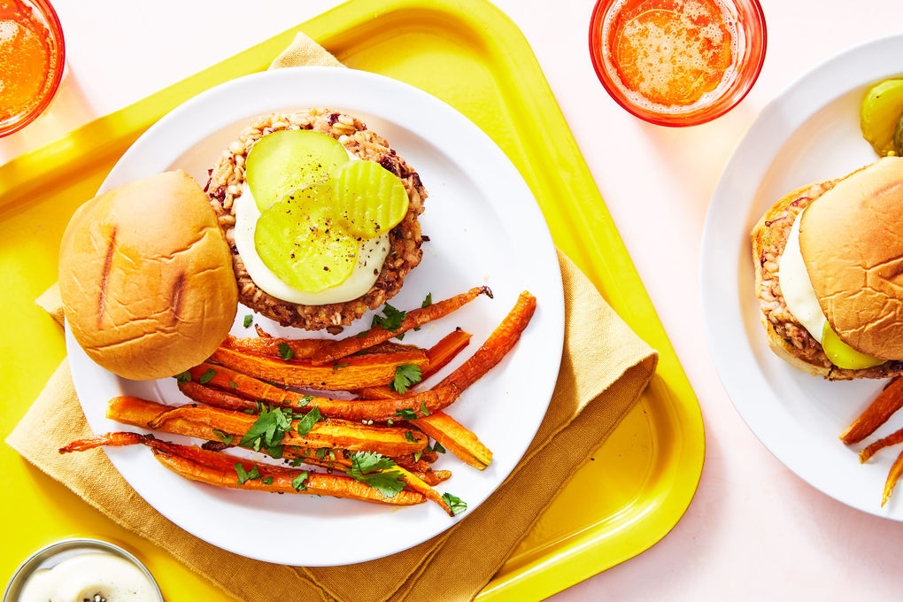Tandoori-Spiced Veggie Burger with Carrot Fries