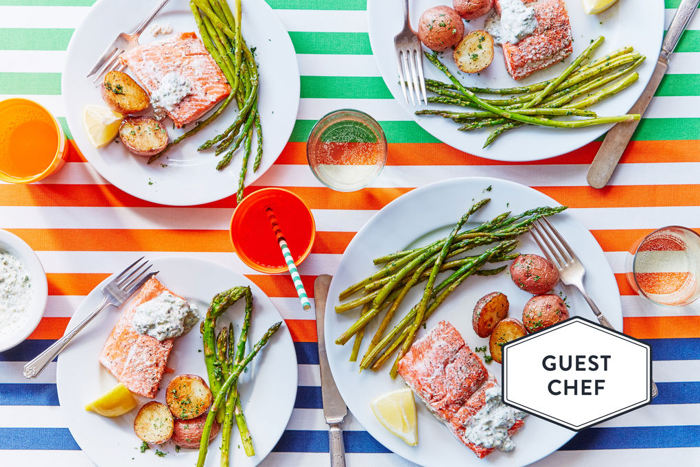Salmon & Roasted Vegetables with Green Mayonnaise