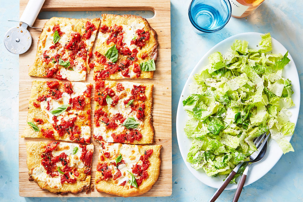 Grandma-Style Margherita Pizza with Caesar Salad