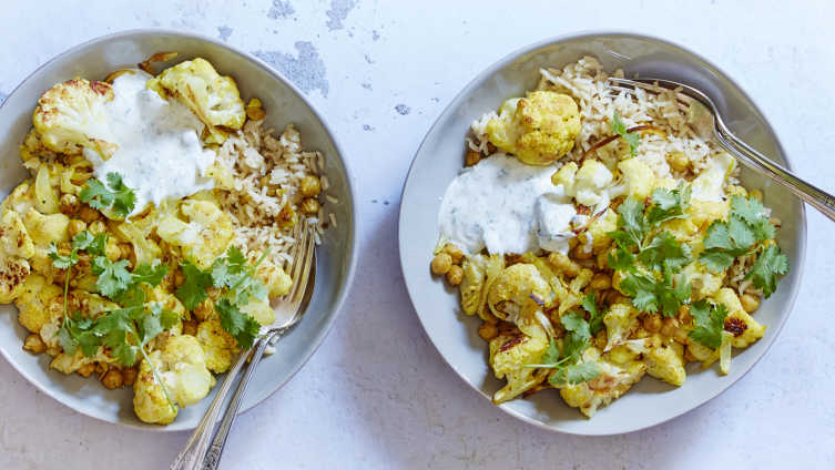 indian spiced cauliflower with cumin rice pilaf