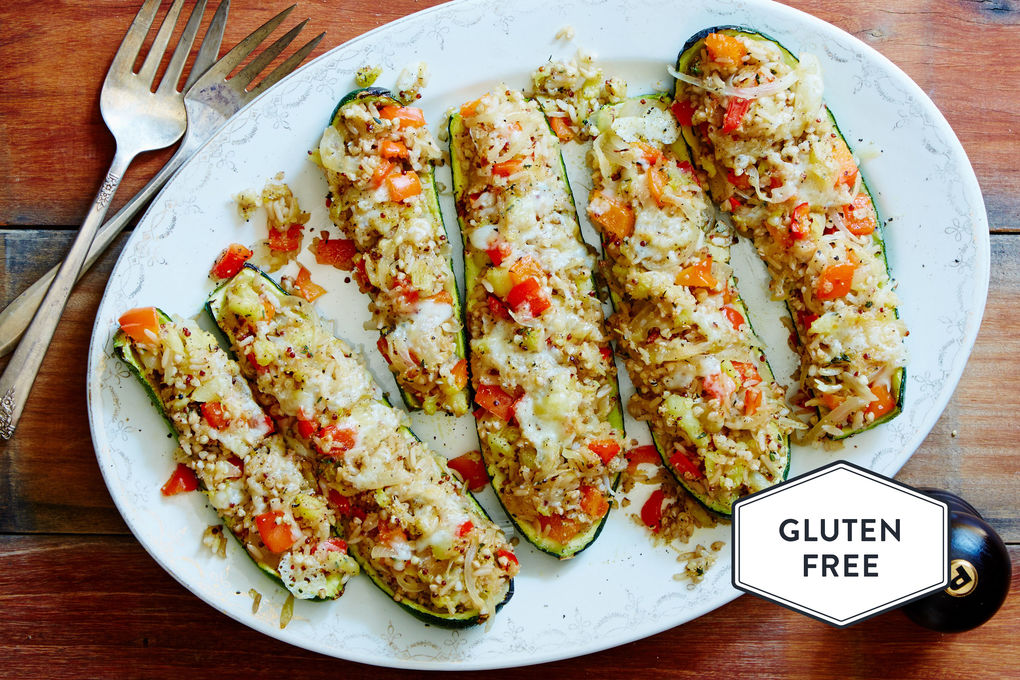 Vegetarian Zucchini Boats with Grains and Fontina Cheese