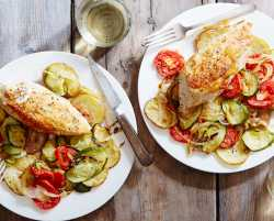 roasted chicken provençal with zucchini, tomatoes & potatoes