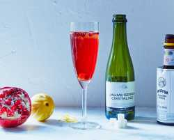 cocktail of the month: december's pomegranate kir royale