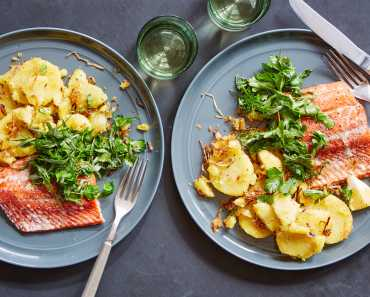 slow roasted salmon with shallot potatoes and herb salad